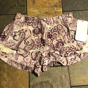paisley print flowy shorts lace trim with pockets